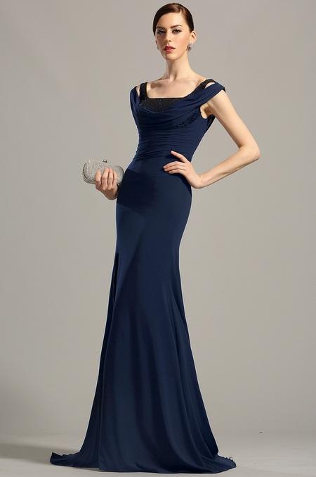 Modré společenské šaty s vysokým rozparkem  a8886bfe75