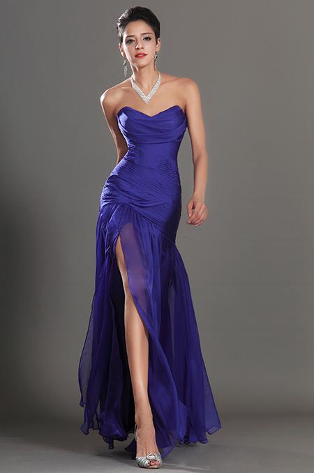 Královsky modré plesové šaty s rozparkem  c5430a3a4fa