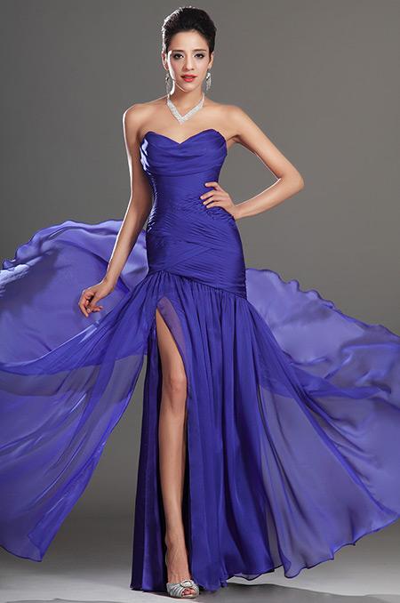 Královsky modré plesové šaty s rozparkem  7b6b4cfc8e