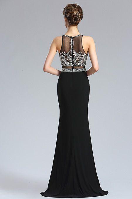 f19d5495ce5 Černé večerní šaty s tylovým průstřihem a kamínky